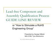 Lead-free Component and Assembly Qualification Process - SMTA