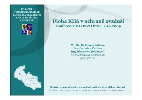 Úloha KHS v ochraně ovzduší - Krajská hygienická stanice ...