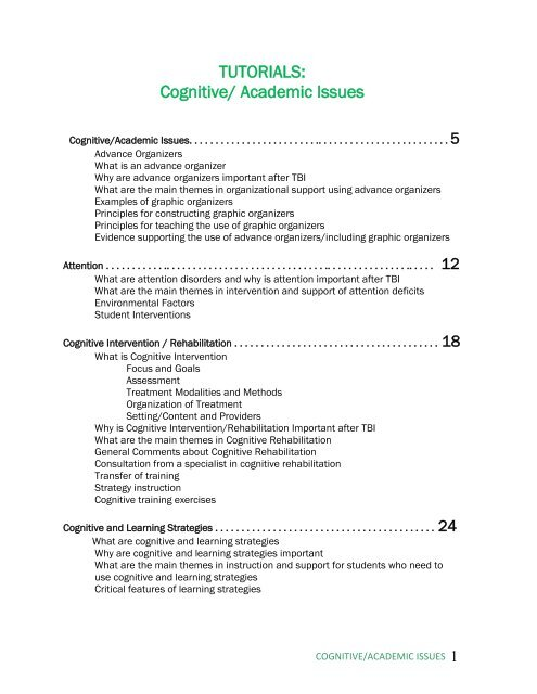 TUTORIALS: Cognitive/ Academic Issues - LEARNet