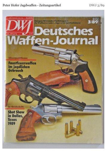 Peter Hofer Jagdwaffen - Zeitungsartikel DWJ 3/89