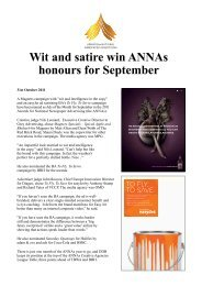 Wit and satire win ANNAs honours for September - Creativematch