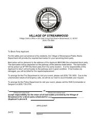 Block Party Application - Village of Streamwood