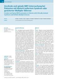 Zerebrale und spinale MRT-Untersuchung bei Patienten mit klinisch ...