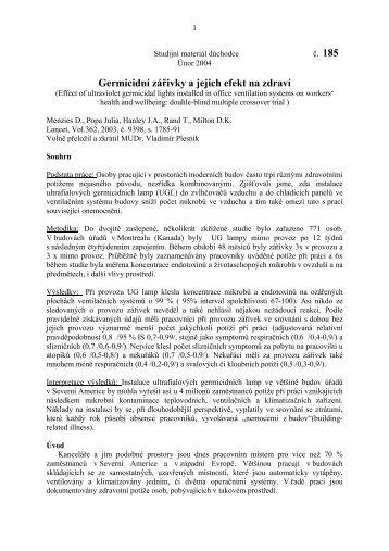 185 - Germicidní zářivky a jejich efekt na zdraví