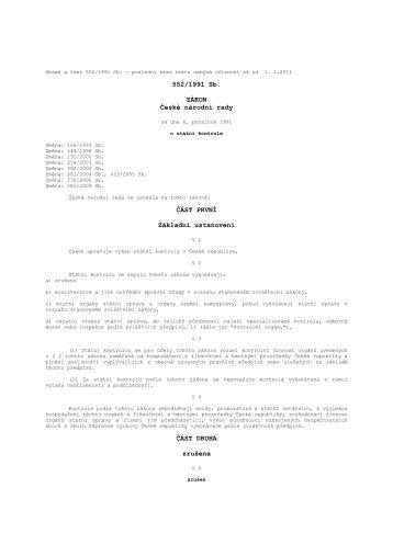 zákon č. 552/1991 Sb. o státní kontrole