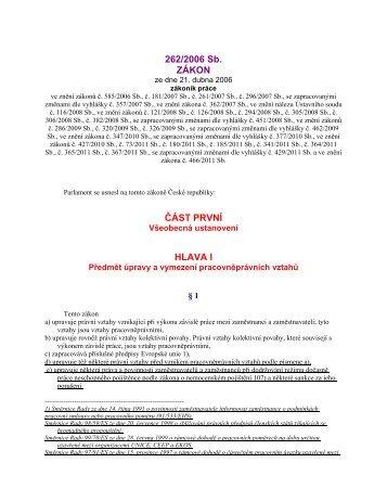 č. 262/2006 Sb.