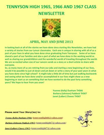 April May & June 2013 - Tennyson High School 1967