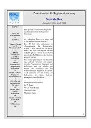 Newsletter 01/2008 - Zentralinstitut für Regionenforschung ...