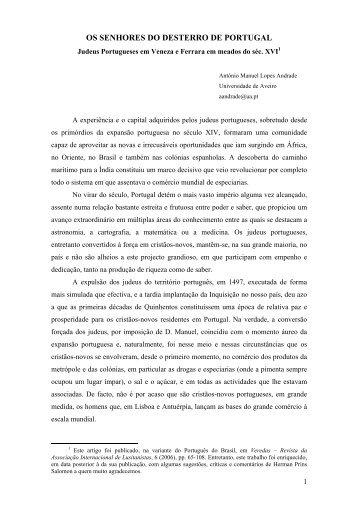 Os Senhores do Desterro de Portugal: Judeus Portugueses entre ...
