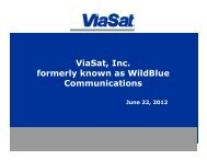 ViaSat, Inc. f l k ild l formerly known as WildBlue Communications