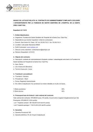 anunci licitació web LIC 12 10 implants.pdf - Hospital Sant Pau