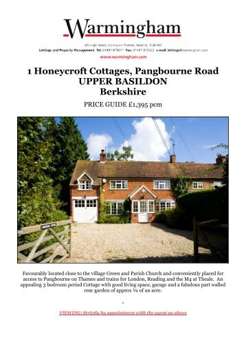 1 Honeycroft Cottages, Pangbourne Road UPPER ... - Warmingham