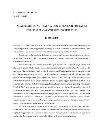 analisi xrf quantitativa con strumenti portatili per le applicazioni ...