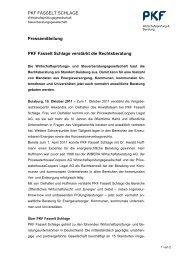 PKF FASSELT SCHLAGE Pressemitteilung PKF Fasselt Schlage ...
