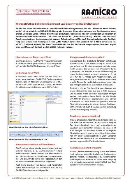 Microsoft Office Schnittstellen Import Und Export Von Ra Micro