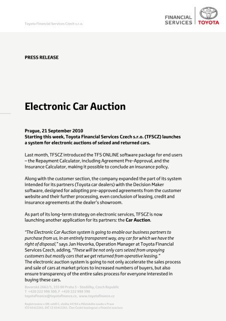 Full press release for download - Toyota Financial Services