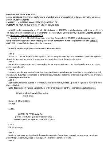ORDIN nr. 718 din 30 iunie 2005 pentru aprobarea ... - Isubuzau.ro