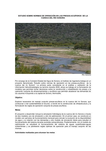 estudio sobre normas de operación en las presas-acuíferos de la ...