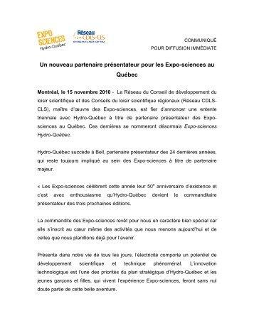 Un nouveau partenaire présentateur pour les Expo-sciences au ...