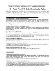 City Fiscal Year 2010 Budget Priorities for Aging - Council of Senior ...