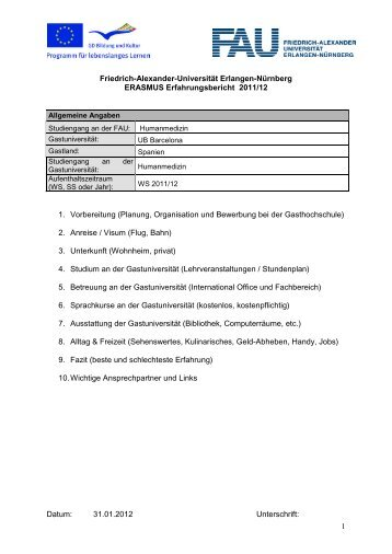 Erfahrungsbericht Auslandsstudium - Studiendekanat Medizin ...