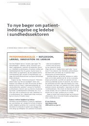 To nye bøger om patient- inddragelse og ledelse ... - Medicinsk Dialog