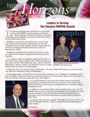 Leaders in Serving Two Receive PANPHA Awards - Landis Homes