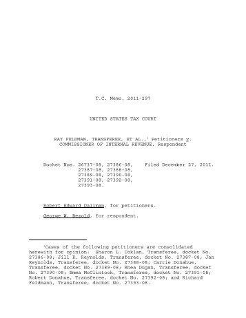 TC Memo. 2011-297 - U.S. Tax Court