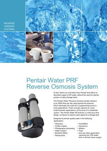 Pentair Water PRF Reverse Osmosis System - Dowdens Pumping