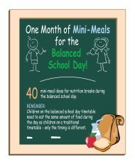 One Month of Mini-Meals for the Balanced School Day!