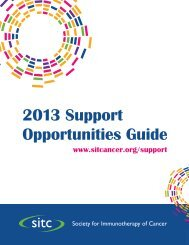 2013 Support Opportunities Guide - Society for Immunotherapy of ...