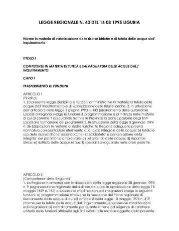 legge regionale n. 43 del 16 08 1995 liguria - Comune di Savona