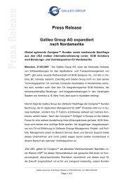 Press Release Galileo Group AG expandiert nach Nordamerika