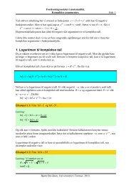 1. Logaritmen til komplekse tall. ( ) - Universitetet i Tromsø
