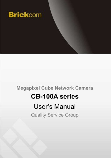 CB-100A series User's Manual - Kamery IP