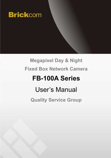 FB-100A Series User's Manual - Kamery IP