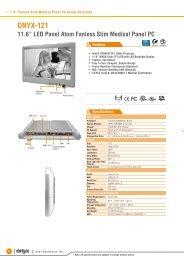 """ONYX-121 11.6"""" LED Panel Atom Fanless Slim ... - Sensor Medical"""