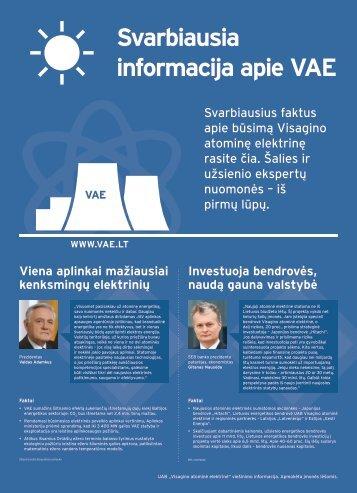 Svarbiausia informacija apie VAE - Visagino atominės elektrinės ...