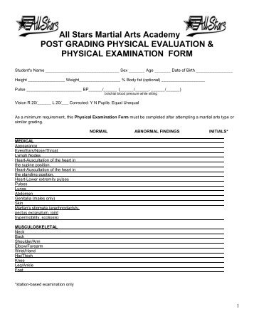 New Medical Examination Form Check ListPdf  All Stars Self