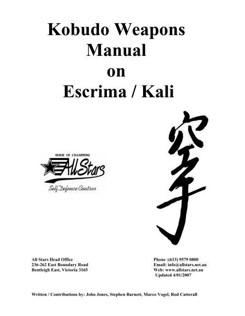 Escrima Weapons Manual Pdf All Stars Self Defence Centres