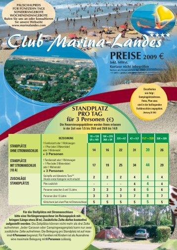 VERMIETUNGEN PRO WOCHE - Club Marina-Landes