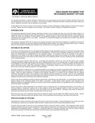 DISCLOSURE DOCUMENT FOR RECOGNIZED MARKET OPTIONS
