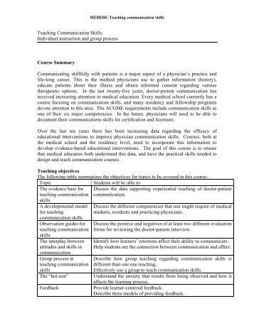 Teaching Communication Skills: Individual instruction and group ...