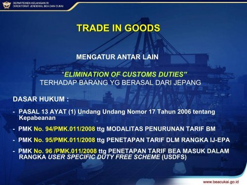 Direktorat Teknis Kepabeanan Direktorat Jenderal Bea dan Cukai