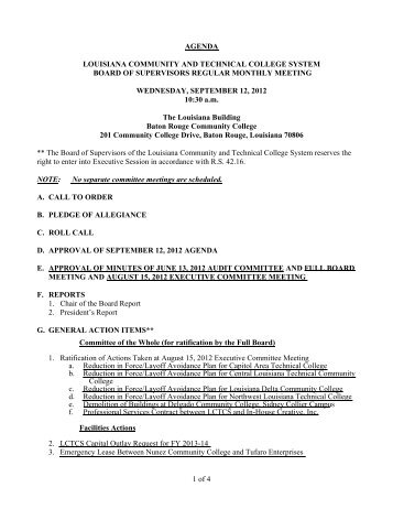 1 of 4 AGENDA LOUISIANA COMMUNITY AND TECHNICAL ...