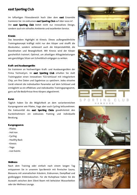 east Sporting Club (PDF) - Restaurants Hamburg
