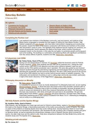 Saturday Bulletin 9 February 2013 - Bedales Schools
