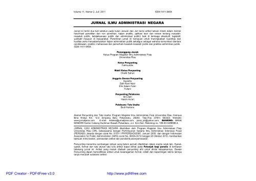 jurnal ilmu administrasi negara - perpustakaan universitas riau