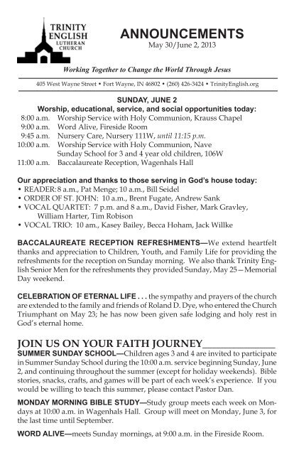 ANNOUNCEMENTS - Trinity English Lutheran