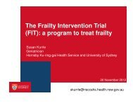 The Frailty Intervention Trial (FIT) - University of Sydney